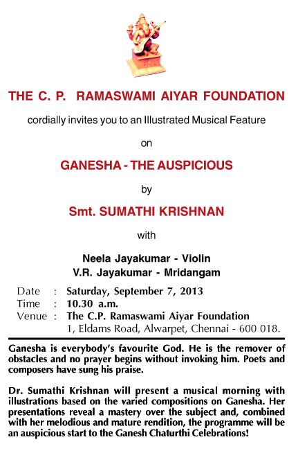 Ganesha - Sumathi Krishnan - Invitation 2013 copy