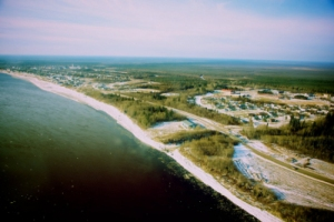Aerial view of Moose Cree First Nation photo credit: Danny Kresnyak