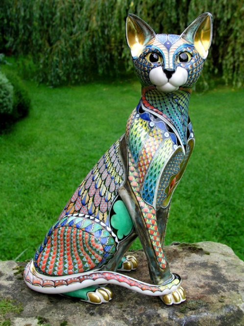 cats, cats in art, ceramics, David Burnham Smith, Master ceramic artists, artist who sculpt cats, Porcelain sculptures of cats, Clay, pottery, Kiln fired pottery, colorful cermaic cats, beautiful ceramic cats, cat inspired artwork, exclusive art, one of a kind cat sculptures