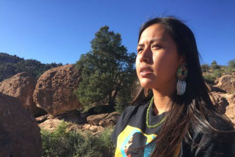 PHOTO: Naelyn Pike, 16, says the Oak Flat campground is sacred to the San Carlos Apache tribe. (ABC News: Stephanie March)