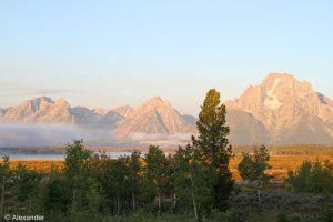 Teton mountain range at sunrise, WY