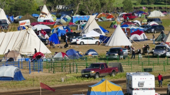 Red Warrior Camp in southern North Dakota was set up to back the Standing Rock Sioux Nation's fight against an oil pipeline, and has swelled as thousands show up in support. (Trevor Brine/CBC)